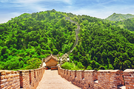 Stone staircase of Great Wall of China, section Mitianyu. Suburbs of Beijing.