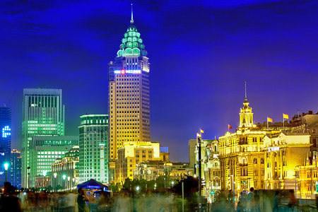 broadway tower: SHANGHAI, CHINA - MAY 23, 2015:Beautiful view of  Shanghai -  Bund or Waitan waterfront at night. Shanghai waterfront Bund has historical buildings and it is one of the most famous tourist places in Shanghai.