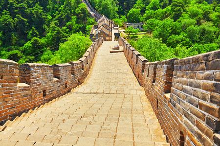suburbs: Stone staircase of Great Wall of China, section Mitianyu. Suburbs of Beijing.