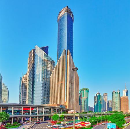 china business: SHANGHAI, CHINA- MAY, 24, 2015: Beautiful skyscrapers, city building of Pudong, Shanghai, China. Editorial