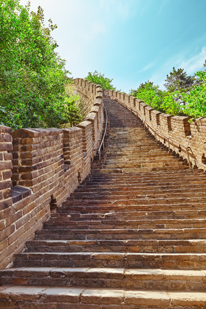 jinshaling: Stone staircase of Great Wall of China, section Mitianyu. Suburbs of Beijing.