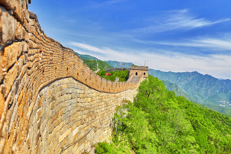 ancient great wall: Close-Up view of Great Wall of China, section Mitianyu. Suburbs of Beijing. Stock Photo