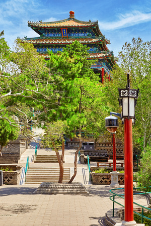 city park pavilion: Jingshan Park, Pavilion of Everlasting Spring (Wanchun ting), near the Forbidden City, Beijing. China