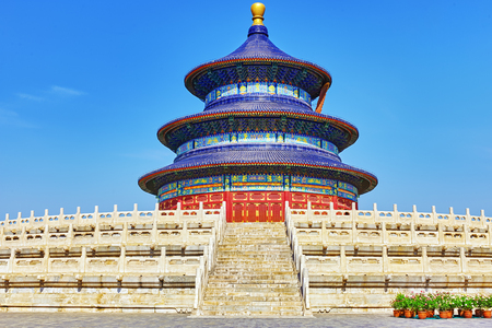 china art: Wonderful and amazing temple - Temple of Heaven in Beijing, China Stock Photo