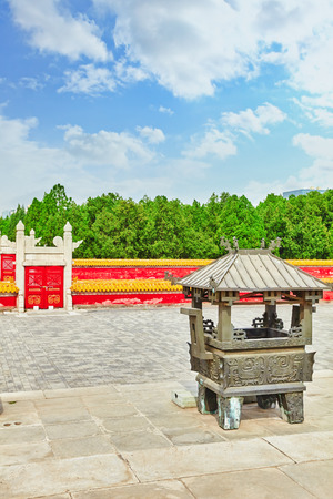 referred: View on altar in Temple of Earth (also referred to as the Ditan Park), Beijing. China.