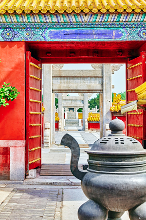 referred: Temple of Earth (also referred to as the Ditan Park), Beijing, China.Focus on the gates.