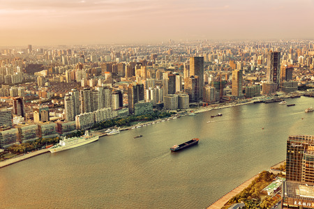 china: SHANGHAI, CHINA - MAY 24, 2015:Beautiful view skyscrapers, waterfront and city building of Pudong, Shanghai, China.
