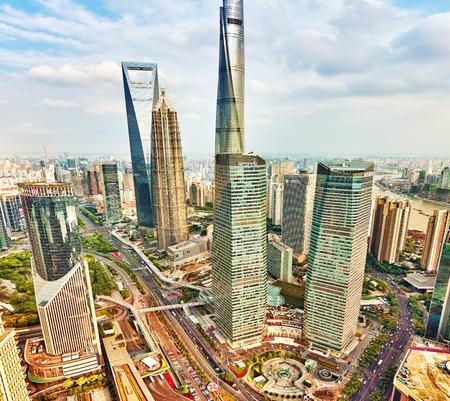 china landscape: SHANGHAI, CHINA- MAY, 24, 2015: Beautiful skyscrapers, city building of Pudong, Shanghai, China. Editorial