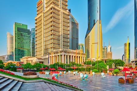 megapolis: SHANGHAI, CHINA- MAY, 24, 2015: Beautiful skyscrapers, city building, beautiful office and commercial buildings in the Pudong business part of modern Shanghai - the financial capital of the Republic of China. China.