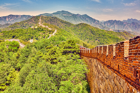 suburbs: Close-Up view of Great Wall of China, section Mitianyu. Suburbs of Beijing. Stock Photo