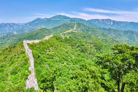 jinshaling: Great Wall of China, section Mitianyu. Suburbs of Beijing.