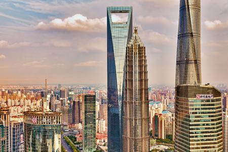 megapolis: SHANGHAI, CHINA- MAY, 24, 2015: Beautiful skyscrapers, city building of Pudong, Shanghai, China. Editorial