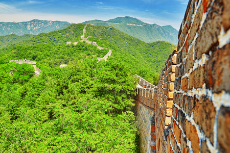 simatai: Stone staircase of Great Wall of China, section Mitianyu. Suburbs of Beijing.