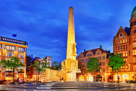obelisk stone: AMSTERDAM, NETHERLANDS - SEPTEMBER 15, 2015: National Monument, in Amsterdam devote World War II on Dam Square. Remembrance of the killed in the war ceremony is held at the monument every year.Netherlands