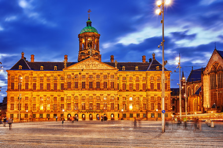 dam square: Royal Palace in Amsterdam on the Dam Square in the evening. Netherlands