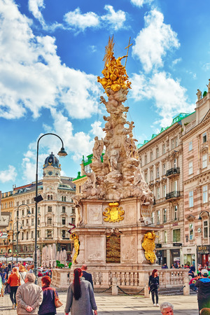 blessed trinity: VIENNA, AUSTRIA-SPETEMBER 10, 2015:Marian columns are religious monuments built in honour of the Blessed Trinity, often in thanksgiving for the ending of a plague-and known as plague columns. Vienna. Austria. Editorial
