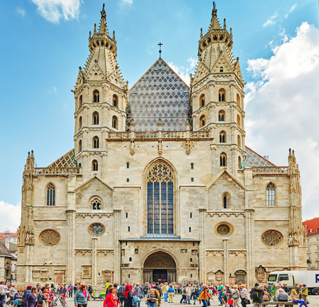 saint stephen cathedral: VIENNA, AUSTRIA-SEPTEMBER 10, 2015 : Facade of St. Stephens Cathedral (more commonly known by its German title: Stephansdom) is the mother church of the Roman Catholic Archdiocese of Vienna. Austria. Editorial