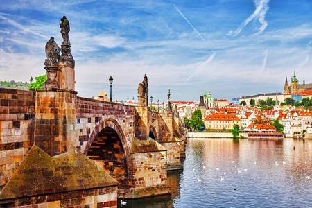 river: Charles Bridge from the quay of the Vltava River.Czech Republic. Stock Photo