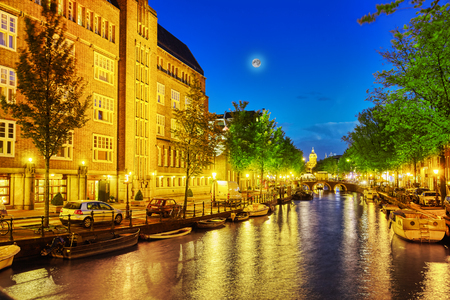 brothel: Beautiful Amsterdam city at the evening time. Netherlands Editorial