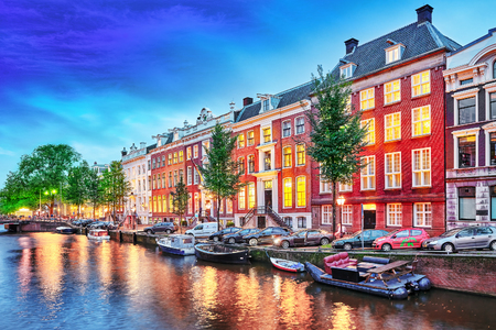 amsterdam: Beautiful Amsterdam city at the evening time. Netherlands Stock Photo