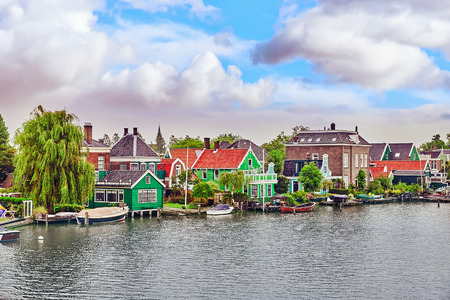shallop: Typical, authentic village with cozy houses of the  countryside in the Netherlands. Stock Photo
