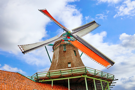 suburbs: Unique old, authentic, real working windmills in the suburbs of Amsterdam, the Netherlands.