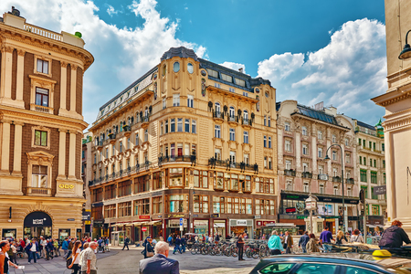 stephansplatz: VIENNA, AUSTRIA-SEPTEMBER 10, 2015: St. Stephens square (Shtefansplatts )-the central square in Vienna, people on the street, one of the most beautiful European cities. Austria.