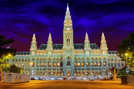 rathaus: Viennas Town Hall (Rathaus) at nightime.Vienna. Austria. Editorial