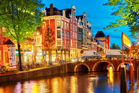 brothel: AMSTERDAM, NETHERLANDS-SEPTEMBER 15, 2015:Beautiful Amsterdam city, canals at the evening time. Netherlands