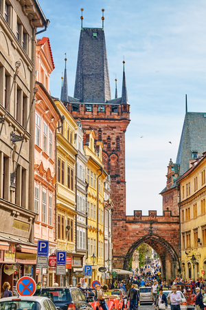 quarters: PRAGUE, CZECH REPUBLIC-SEPTEMBER 5, 2015: Quarters and streets with people on  Pragues Mala Strana(Lesser Town of Prague). District of the city of Prague, Czech Republic, and one of its most historic regions. Czech Republic.