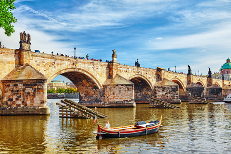 Charles Bridge from the quay of the Vltava River,from Lesser Town of Prague side.Czech Republic.