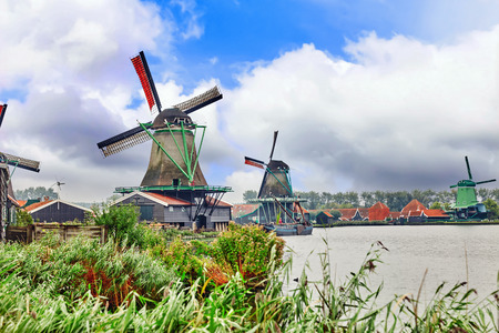 zaandam: Unique old, authentic, real working windmills in the suburbs of Amsterdam, the Netherlands.