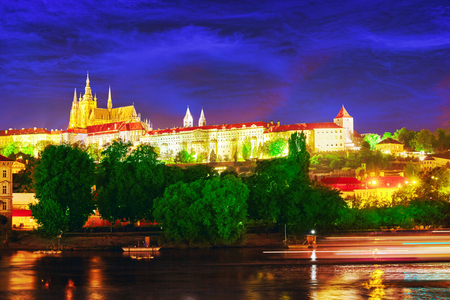 st nicholas cathedral: View of Prague Castle from the river Vltava.Czech Republic. Editorial
