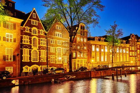 Beautiful Amsterdam city at the evening time. Netherlands Stock Photo