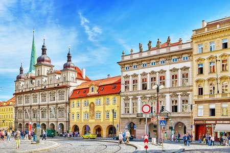 PRAGUE, CZECH REPUBLIC-SEPTEMBER 5, 2015: Malostranske namesti-main square of Prague's Mala Strana(Lesser Town of Prague). St. Nicholas Church and the adjacent building complex divides the square in an upper and lower part.Czech Republic. 에디토리얼