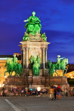 empress: VEIENNA,AUSTRIA- SEPTEMBER 10, 2015:Maria Theresa Square.Monuments of the great Empress of Austria-Maria Theresa. Vienna, Austria.