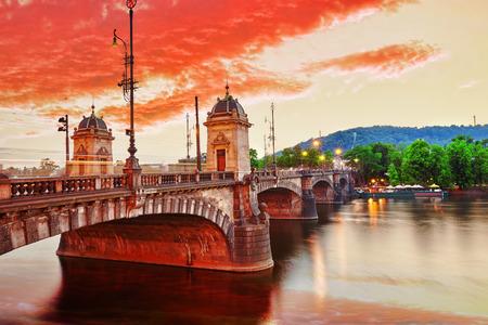 most: Beautiful view Old Bridge Legii (Most Legii) from the waterfront of the Vltava River.Prague.Czech Republic.