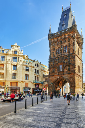 paramilitary: PRAGUE,CZECH REPUBLIC- SEPTEMBER 13, 2015: Powder Tower or Powder Gate in a centre of Old Town Prague.  Czech Republic. Editorial