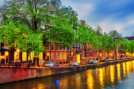 Beautiful Amsterdam city at the evening time. Netherlands Editorial