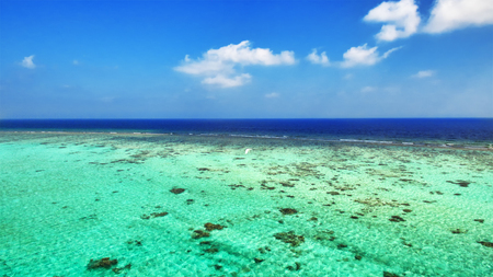aquifer: Skyline of Indian Ocean view from  tropical island in the Maldives.