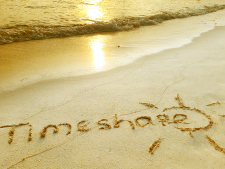 timeshare: Inscription Timeshare in the sand on a tropical island,  Maldives.