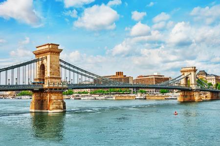 szechenyi: Szechenyi Chain Bridge view from Danube side. Budapest, Hungary.