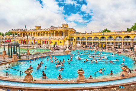 BUDAPEST, HUNGARY - MAY 02,2016: Courtyard of Szechenyi Baths, Hungarian thermal bath complex and spa treatments.