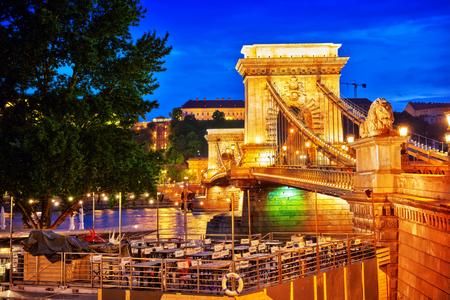 szechenyi: BUDAPEST, HUNGARY-MAY 03, 2016: Szechenyi Chain Bridge view from Pest side. Night time. Budapest.