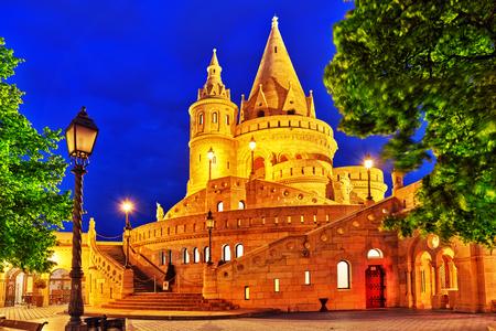 halaszbastya: View on the Old Fishermen Bastion in Budapest. Night time.