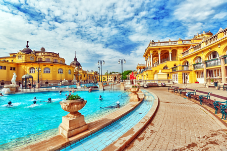BUDAPEST, HUNGARY - MAY 05,2016: Courtyard of Szechenyi Baths, Hungarian thermal bath complex and spa treatments. 에디토리얼