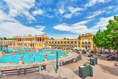 szechenyi: BUDAPEST, HUNGARY, - MAY 05, 2016 Courtyard of Szechenyi Baths, Hungarian thermal bath complex and spa treatments.