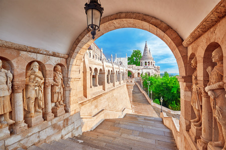 bastion: View on the Old Fisherman Bastion in Budapest. Arch Gallery.
