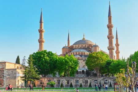 adorning: ISTAMBUL, TURKEY-MAY 07, 2016 Beautiful Sultan Ahmed Mosque is a historic mosque in Istanbul, Turkey. The mosque is popularly known as the Blue Mosque for the blue tiles adorning the walls of its interior.