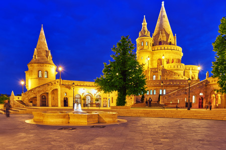 fisherman bastion: View on the Old Fisherman Bastion in Budapest. Night time. Editorial